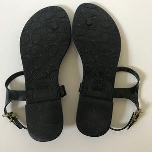 Coach Shoes - Coach Rubber Black T-Strap Sandal Size 9